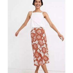 Madewell Silk Midi Slip Skirt in Sunflower Season